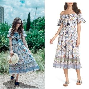 Tory Burch Off Shoulder 100% Cotton Midi Dress